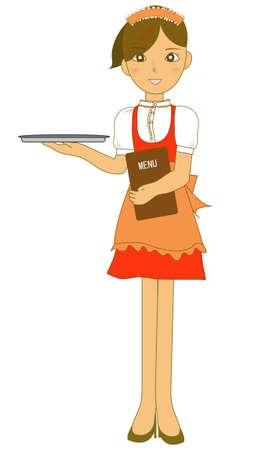A Japanese lovely waitress  Illustration