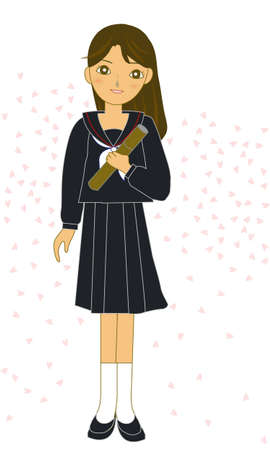 The lovely Japanese schoolgirl of graduation  Vector