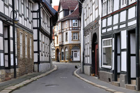 Small street of the old German city of Goslar and a cat on road Stock Photo - 7864566