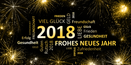 english New Year's greetings card 2018 - Happy New Year and Happy New Year!