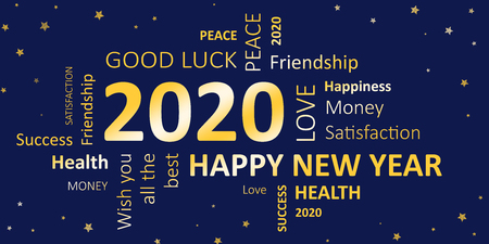 new year card with good wishes 2020