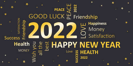 new year card with good wishes 2022