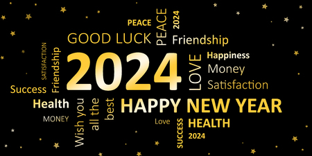 new year card with good wishes 2024