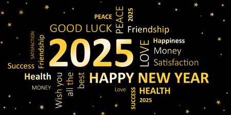 new year card with good wishes 2025