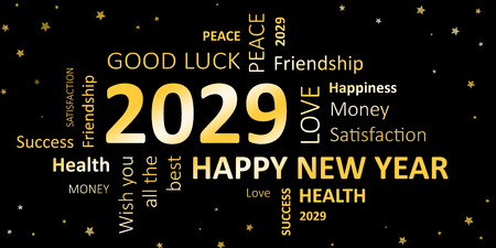 new year card with good wishes 2029