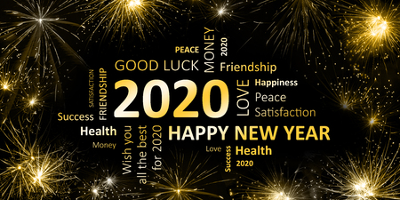 black golden new year card with happy new year 2020 免版税图像 - 90911595