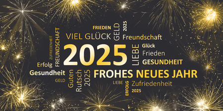 german black golden new year card with happy new year 2025
