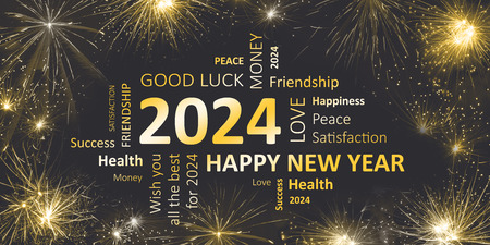 black golden new year card with happy new year 2024