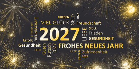 german black golden new year card with happy new year 2027