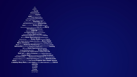 Christmas card with Merry Christmas in different languages Banque d'images