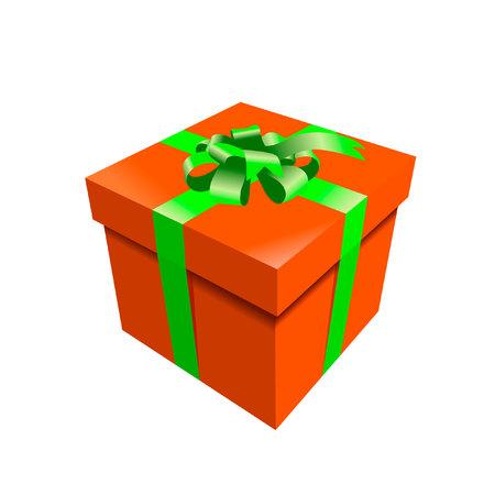 straps: orange photorealistic gift box with green straps
