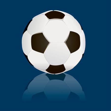 ballon foot: soccerball isol� avec une r�flexion sur fond bleu