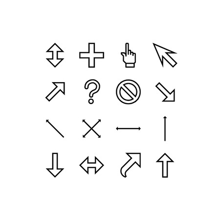 cursors: smooth vector cursors icons with outlines on white background