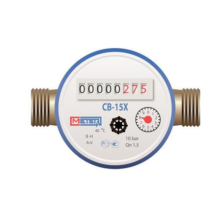 Photoréaliste compteur d'eau vecteur sur fond blanc Banque d'images - 48193542