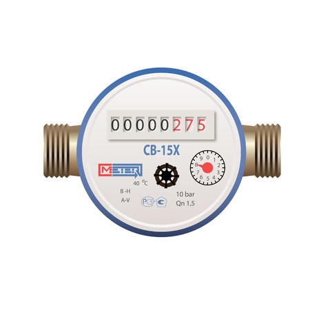 purchasing power: Photorealistic vector water meter on white background