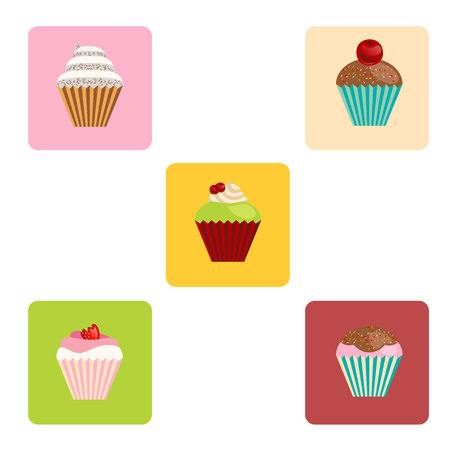 muffin: set of vector cartoon-style cute muffin icons