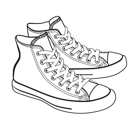 lineart: isolated cartoon sneakers lineart on white background