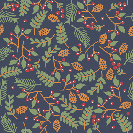 christmass: christmass seamless floral texture on blue background Illustration