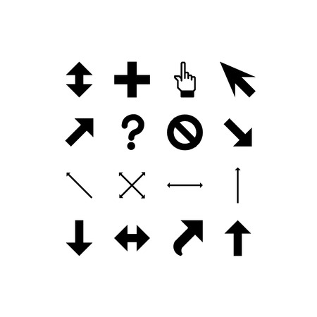 cursors: smooth black cursors icons on white background Illustration