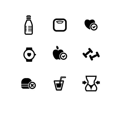 arranging: set of black fitness flat icons