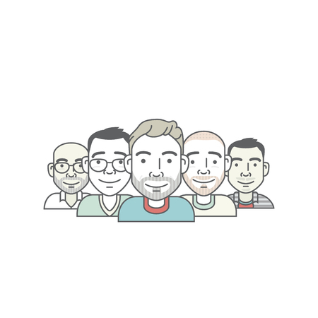 set of cartoon-style hipster male characters Illustration