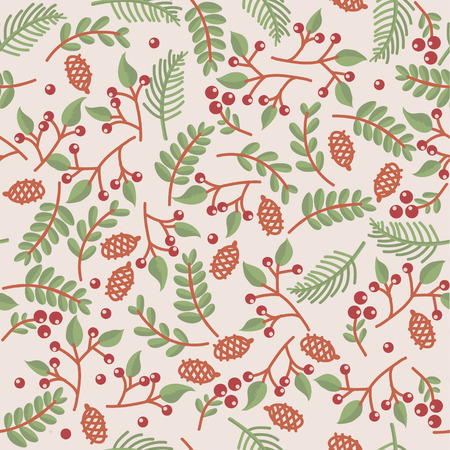 christmass seamless floral texture on cream-colored background Illustration