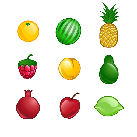pomegranate juice: set of isolated fruits Illustration
