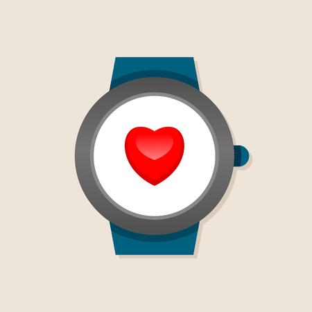 symbol sport: Smart-Uhren mit Herz auf dem Bildschirm, Retro-Stil Illustration