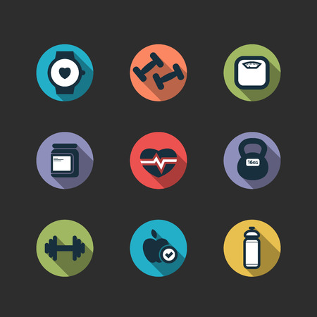 dumbell: set of cute vector fitness longshadow icons