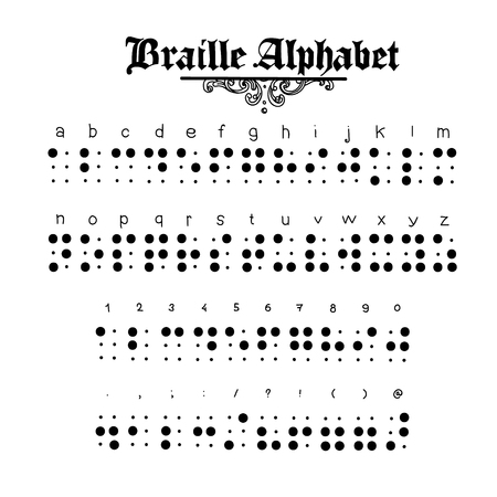 vision loss: Hand-drawn Braille alphabet illustration. You may print it and hang it on the wall Illustration