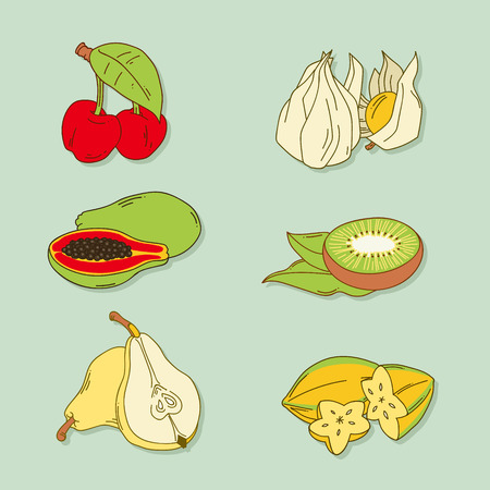 Set of hand-drawn retro-style tropic fruits on blue backgroumd