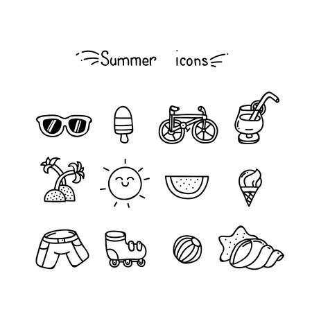 reclining: Set of cute summer icons black outline