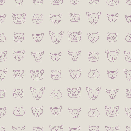 Cute seamless texture with 7 types of hand-drawn cat faces, vector background