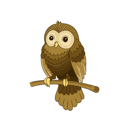 tawny: Cute hand-drawn grey owl isolated on white background