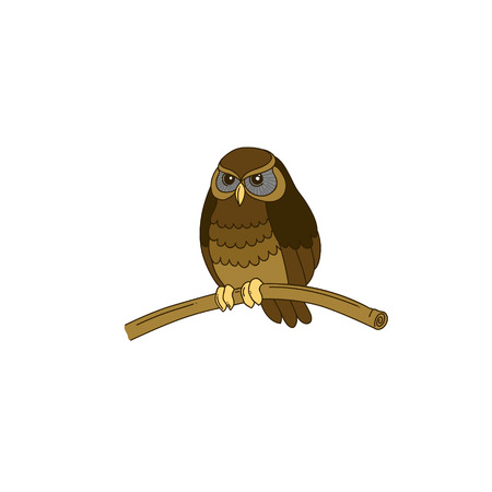 tawny: Cute  horned little owl isolated on white background Illustration