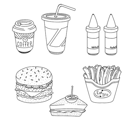 non alcoholic: Set of cartoon fast-food meal lineart, hamburger, sandwich, fries, coffee, soda, ketchup and mustard