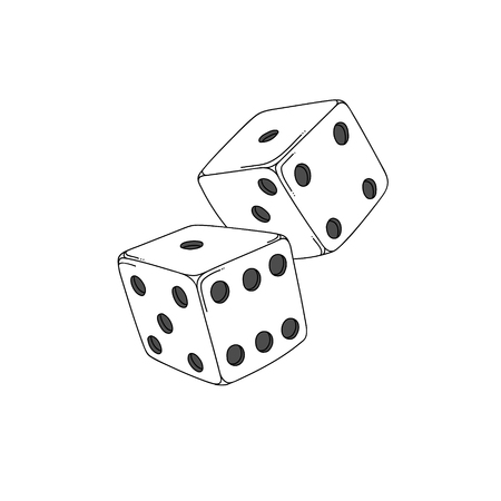 Two white cartoon-style dice cubes isolated on white background