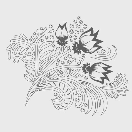 khokhloma: Khokhloma decorated grey  ornament line art. Design element. Illustration for greeting cards, invitations, and other printing projects. Illustration