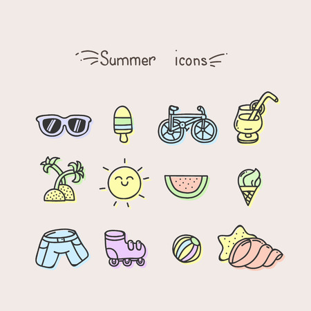 reclining: Set of cute summer icons pastel colors Illustration