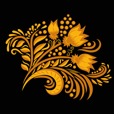 khokhloma: Khokhloma decorated gold ornament on black background. Design element. Illustration for greeting cards, invitations, and other printing projects.