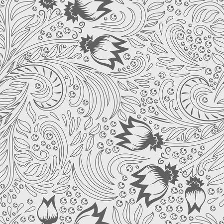 khokhloma: Khokhloma decorated grey seamless texture line art