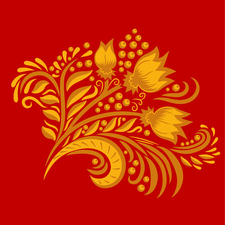 khokhloma: Khokhloma decorated gold ornament on red background. Design element. Illustration for greeting cards, invitations, and other printing projects.