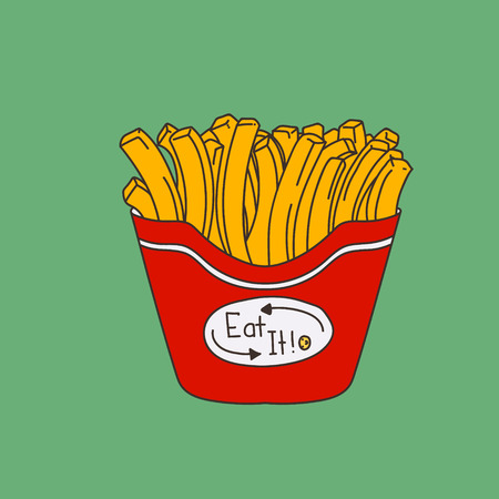 nonalcoholic: Cute hand-drawn cartoon-style fries on green background