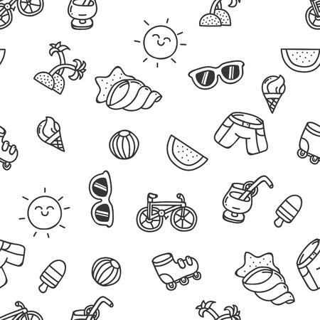 reclining: Set of cute hand-drawn summer seamless texture outline