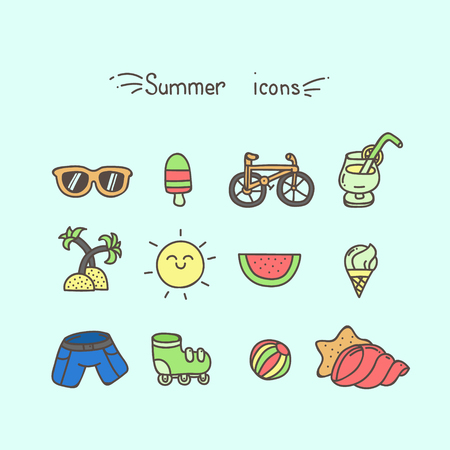 reclining: Set of cute hand drawn summer icons colored