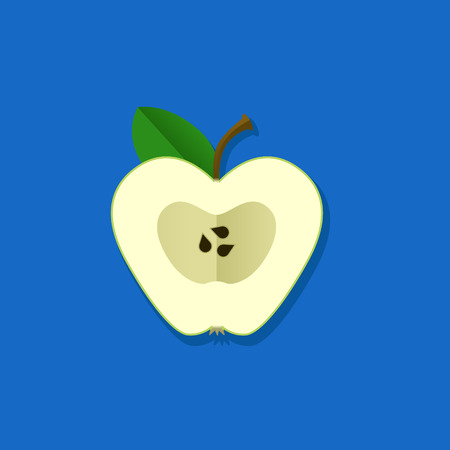 candid: Vector Illustration of green apple. Flat style on blue background.