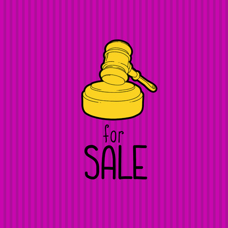 auctioneer: Gold gavel - hammer of judge or auctioneer. Big sale advertisement. Color illustration on purple background.