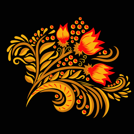 khokhloma: Khokhloma decorated gold and red ornament on black background. Design element. Illustration for greeting cards, invitations, and other printing projects.