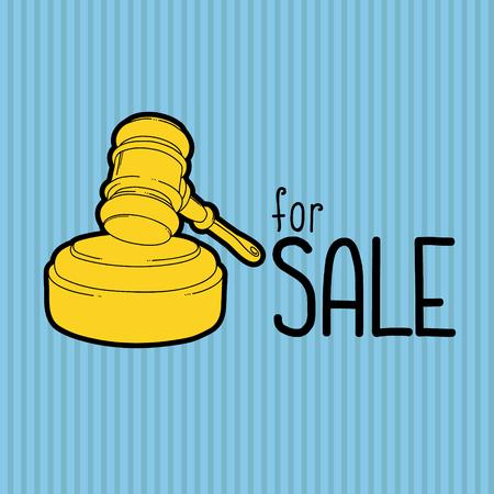 Gold gavel - hammer of judge or auctioneer. Big sale advertisement. Illustration