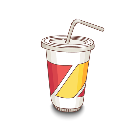 Cute hand-drawn cartoon style cup with drink with shadow on white background. EPS10 Illustration